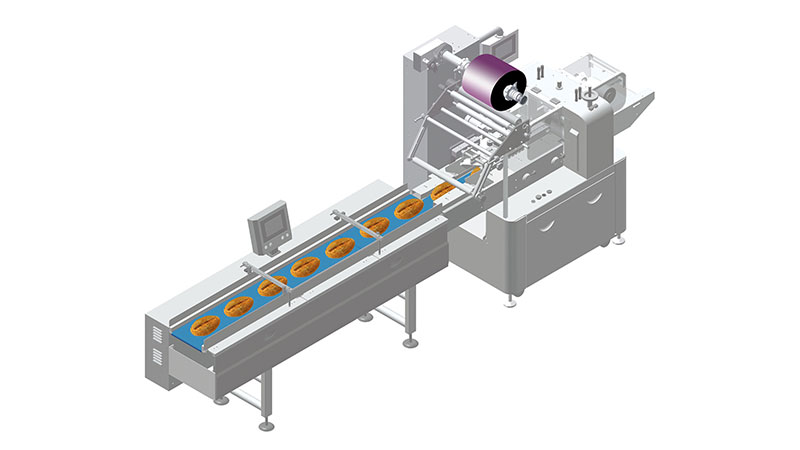 Big Bread Automatic Flow Packing System in 80 Bags Per Minute