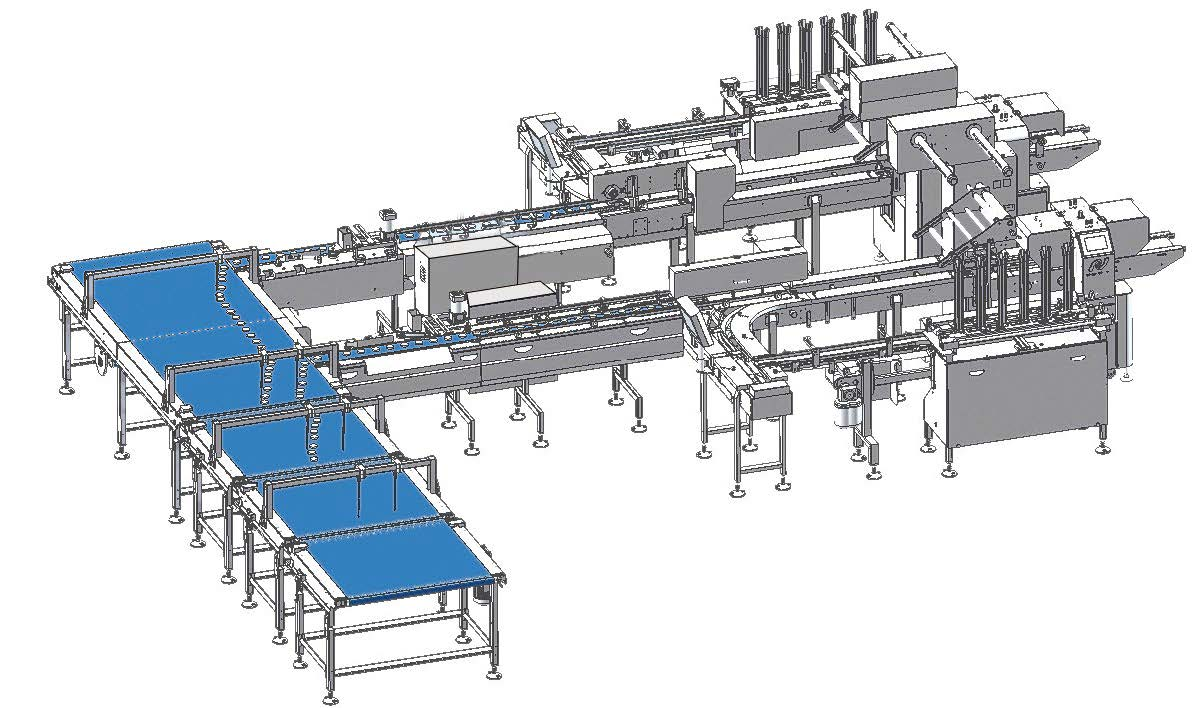 Automatic Tray Loading and Packaging Line