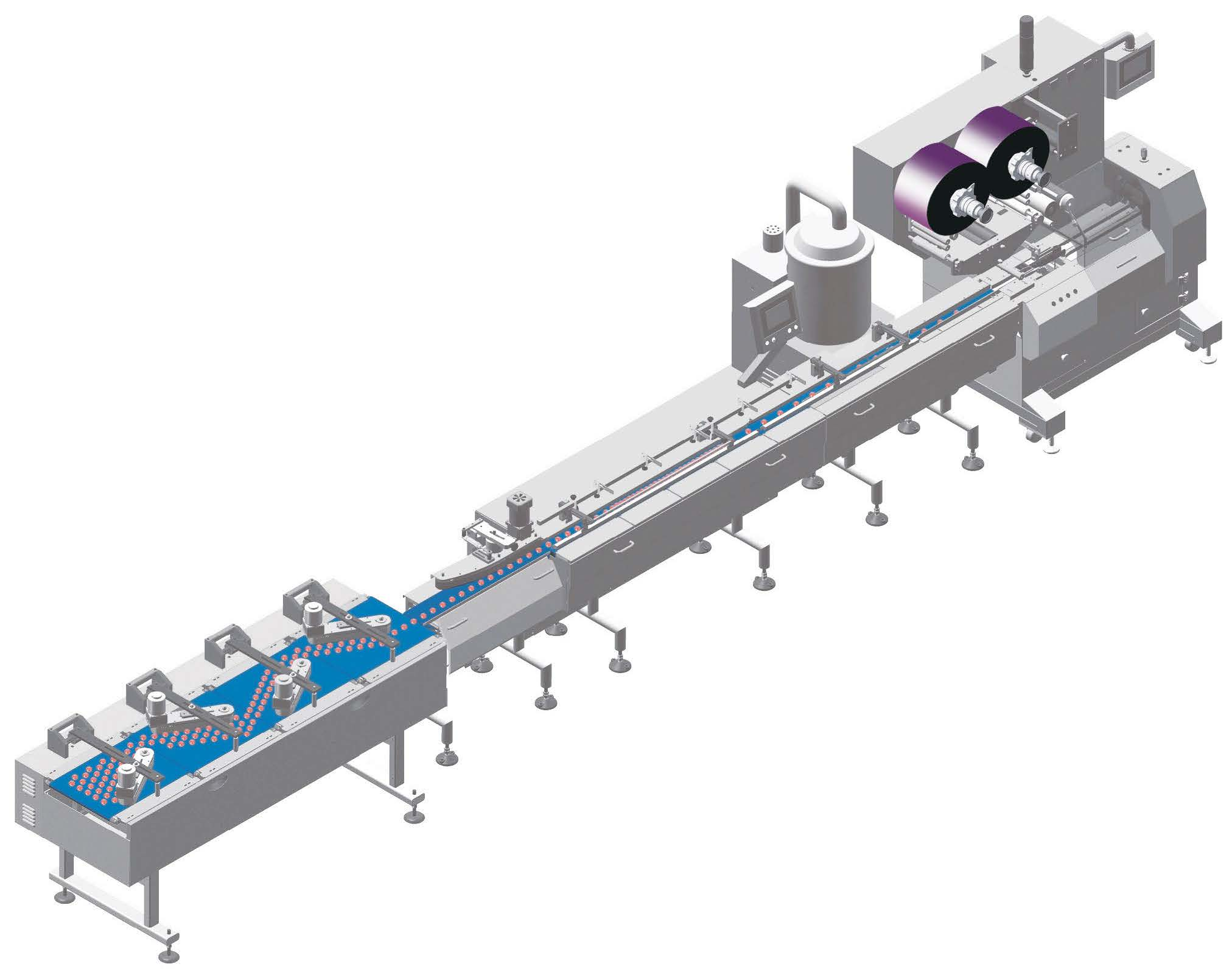 Automatic Chocolate Bar Flow Packaging System with Depanner