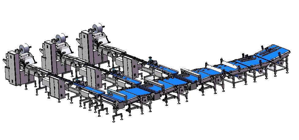 Up feeding packaging system for bakery industry
