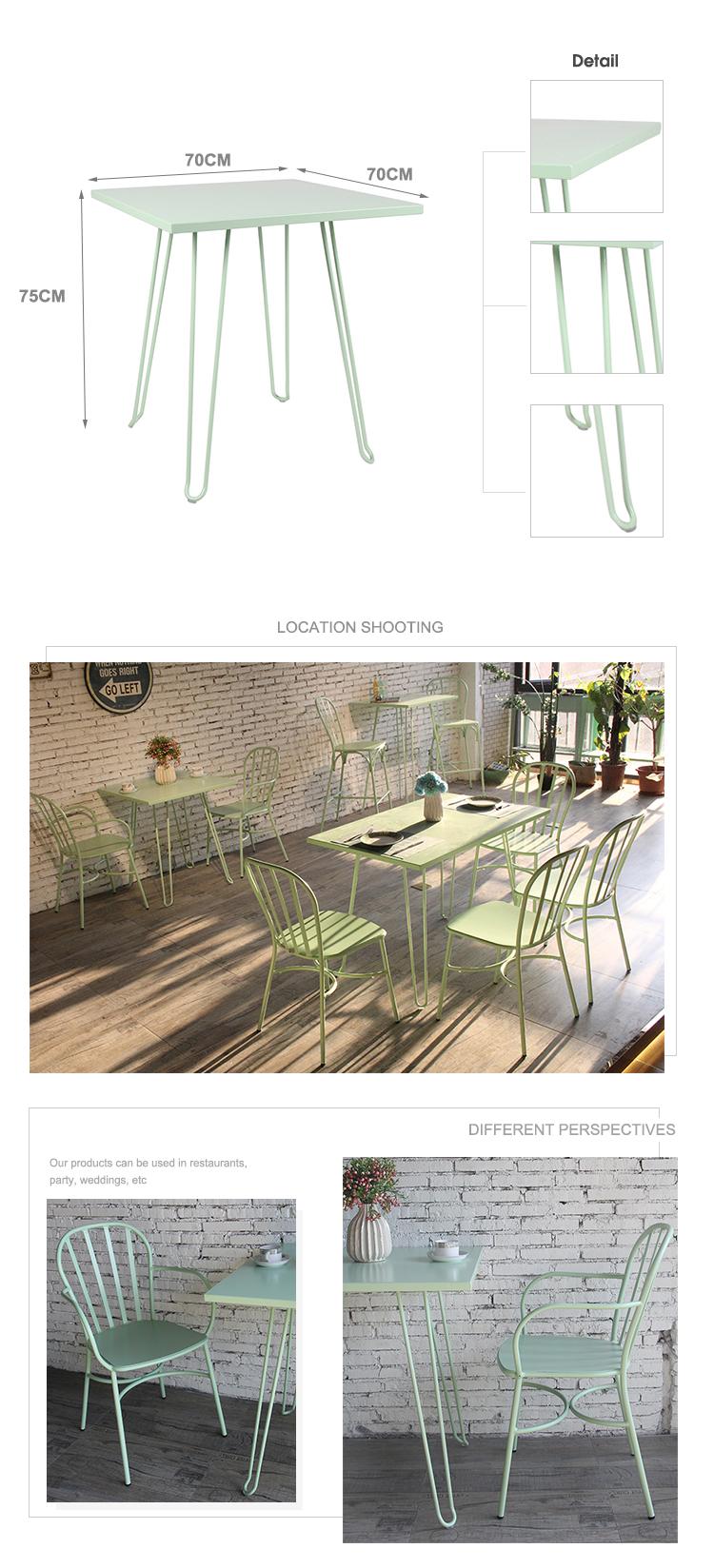تخصيص مطعم الشمال الألومنيوم مطعم القهوة 4 مقاعد طاولة مربعة 735DT-ALU-SQ70 (2)