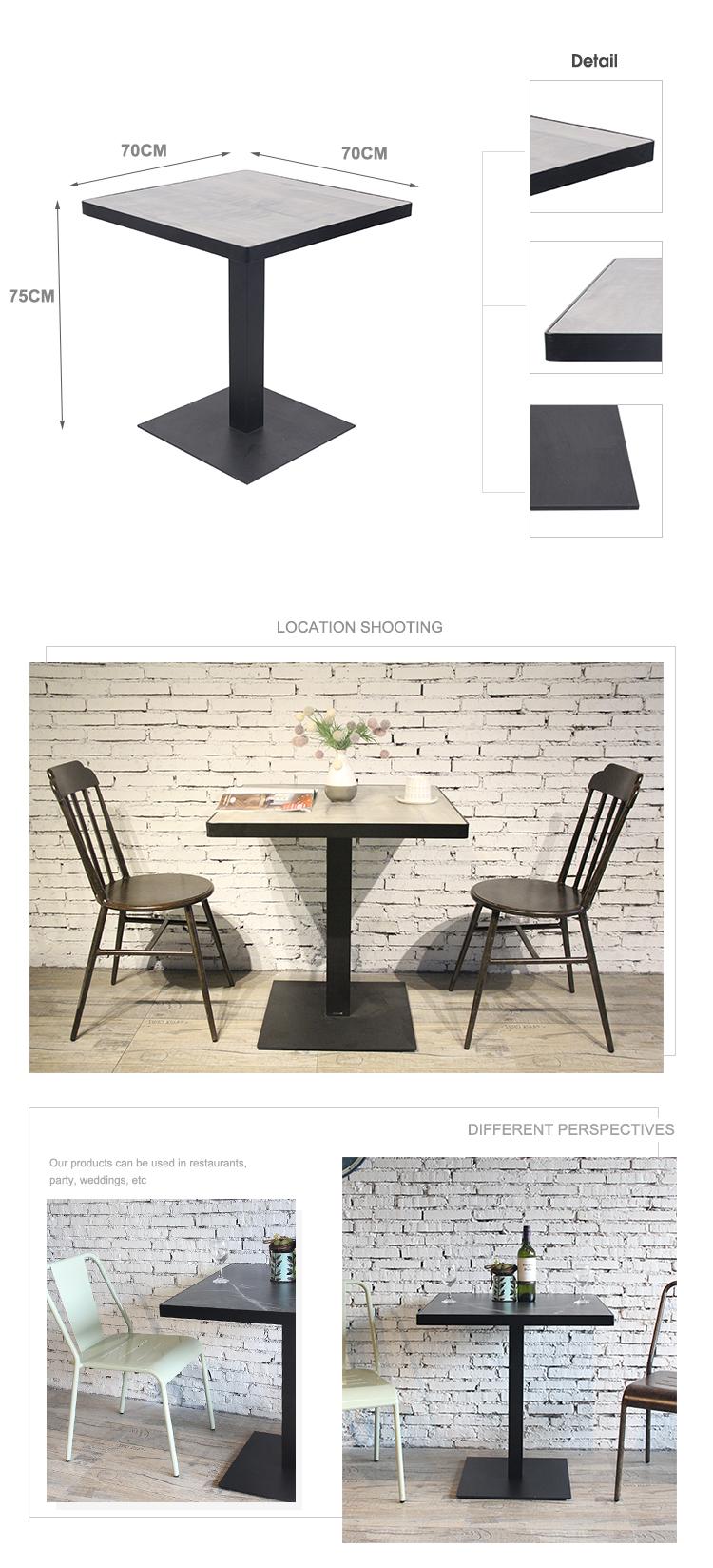 Restaurante moderno, estructura metálica, mesa superior de HPL, nuevo diseño, mesa de centro 804DT-STHPL-SQ70