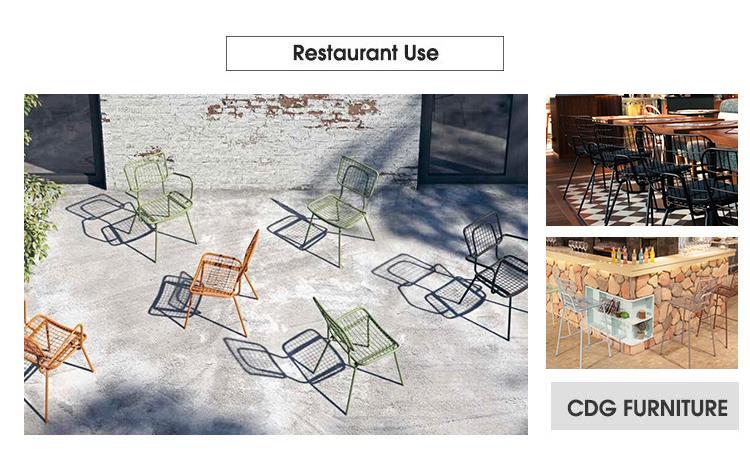 Silla de comedor de alambre de restaurante de jardín Bertoia industrial de hierro antiguo (4)