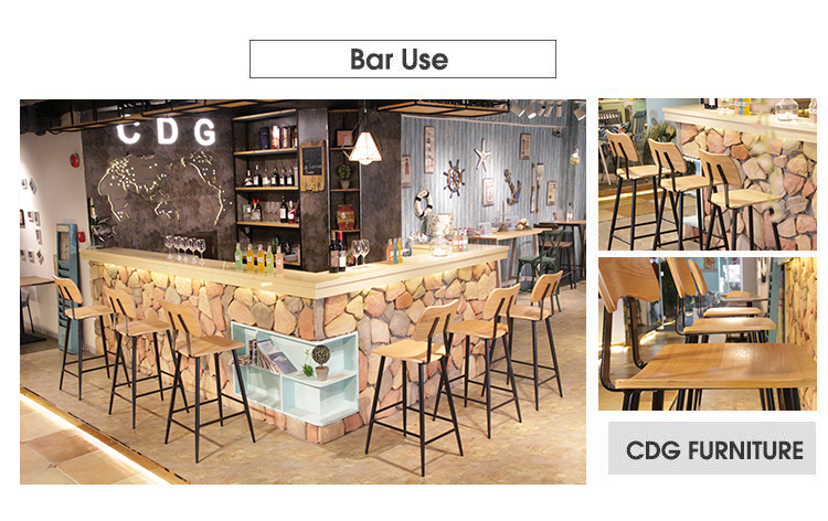 Nordic Tall Pub Household Kitchen Counter Wooden Seat Cocktail Bar Chair 741-H75-STW (2)