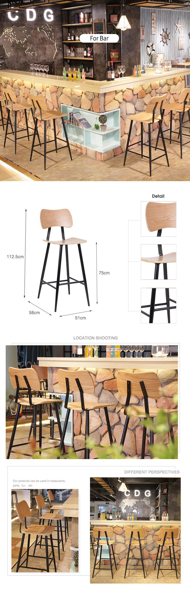 Nordic Tall Pub Household Kitchen Counter Wooden Seat Cocktail Bar Chair 741-H75-STW (1)