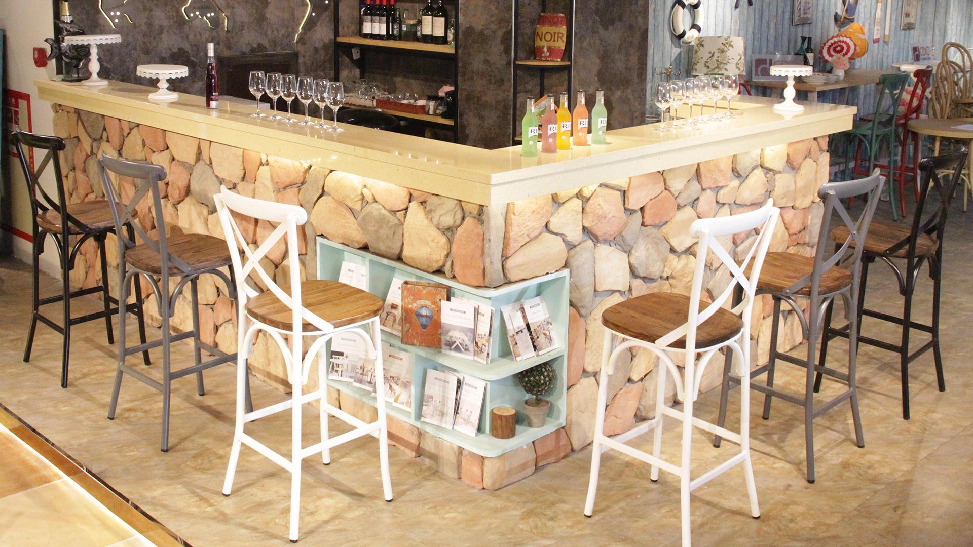 Classic American Antique Restaurant Coffee Bistro Cross Back X Back Bar Silla 657-H75-ALUW