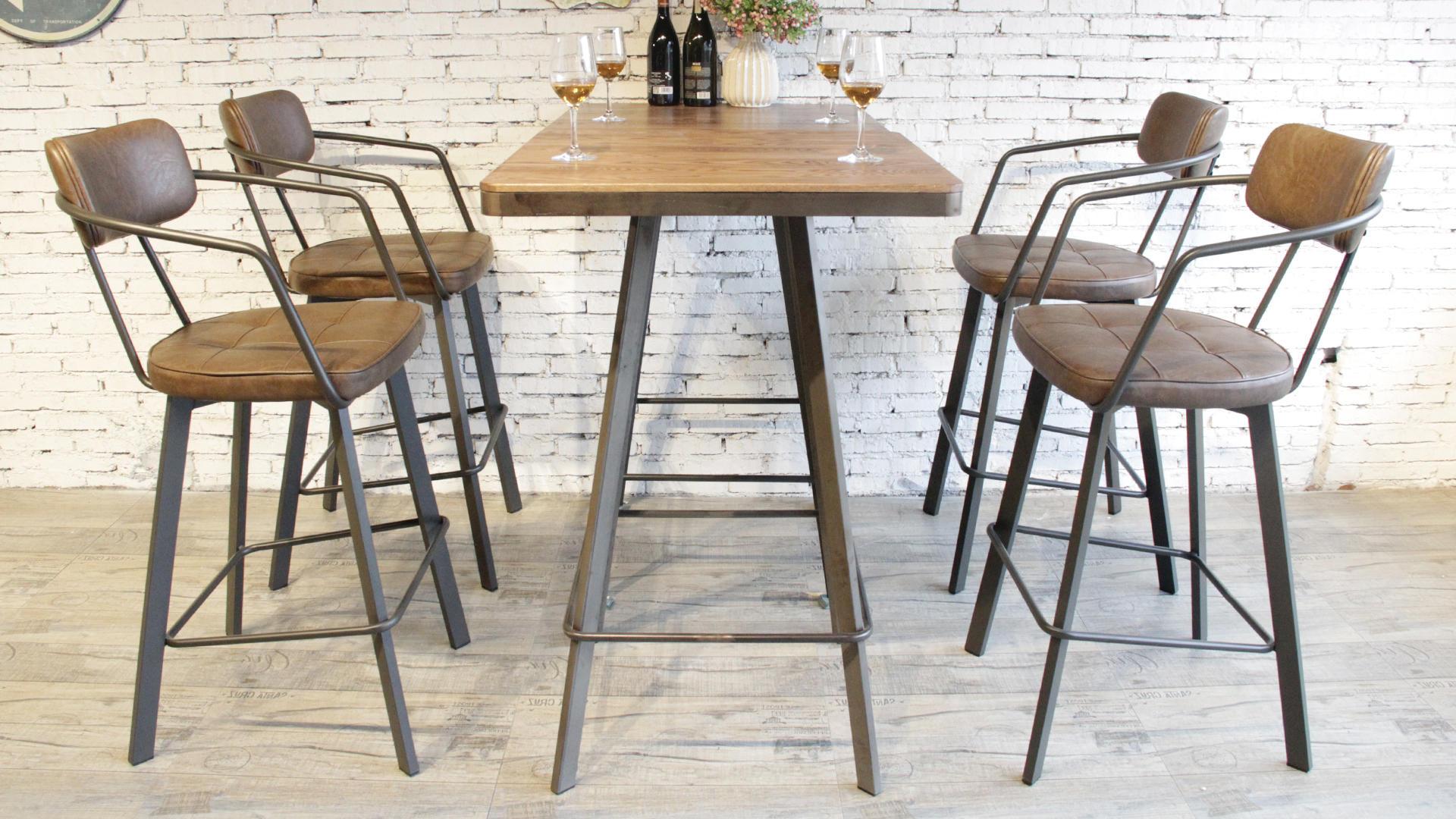 Vintige Bar Furniture Metal Footrest Pu Leather Bar High Chair 795M-H75-STPU