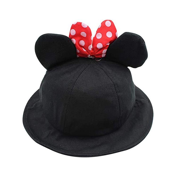 Cute Frog Mouse Ear Bucket Hat Wide Brim Sun Protection Hat Funny Summer Packable Fisherman Cotton Hat for Kids Toddler