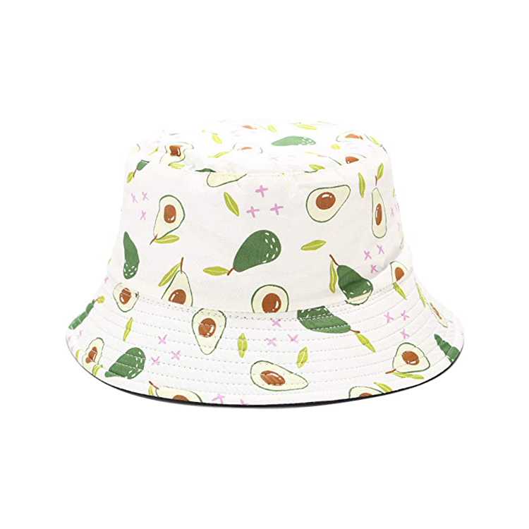 New Print With Fruit Logo Mal Female Hip-hop Panama Bucket Hat For Adult