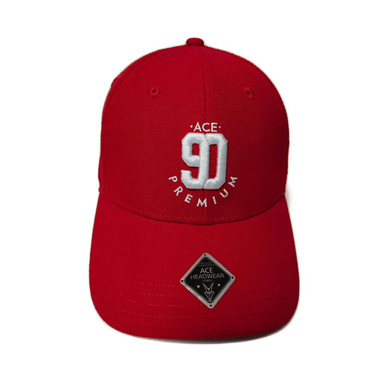 Cute Red Custom 3D Embroidery Baseball Caps 100% Cotton Twill Material