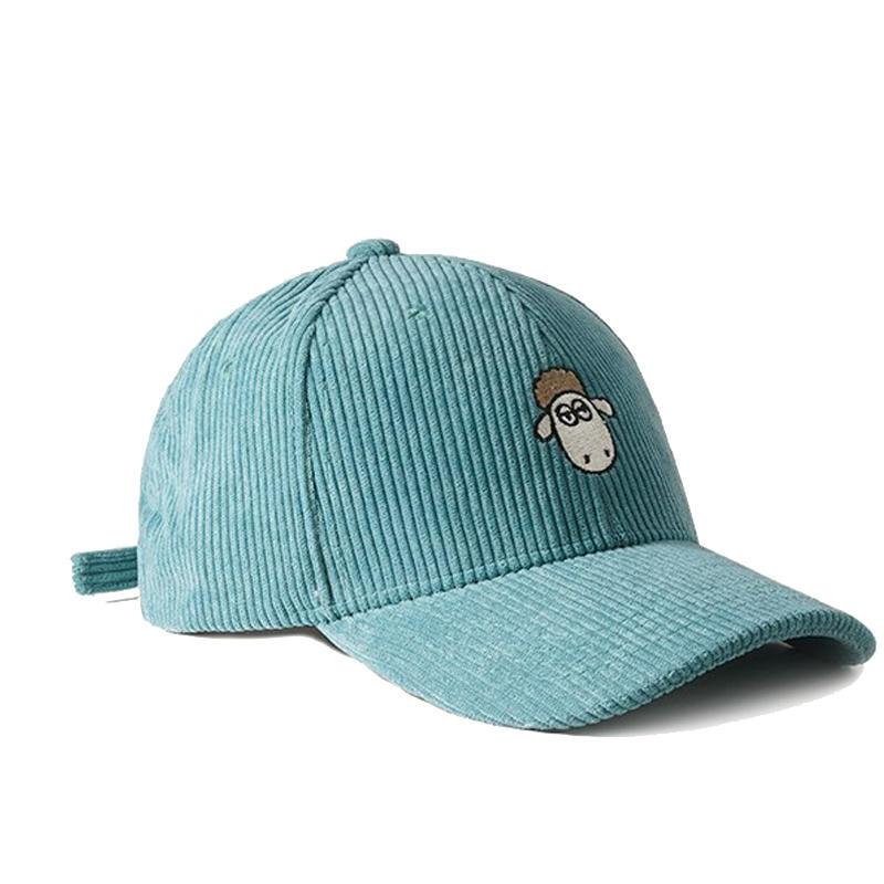 6-Panel Corduroy Baseball Cap Adjustable Sports Hat for Women