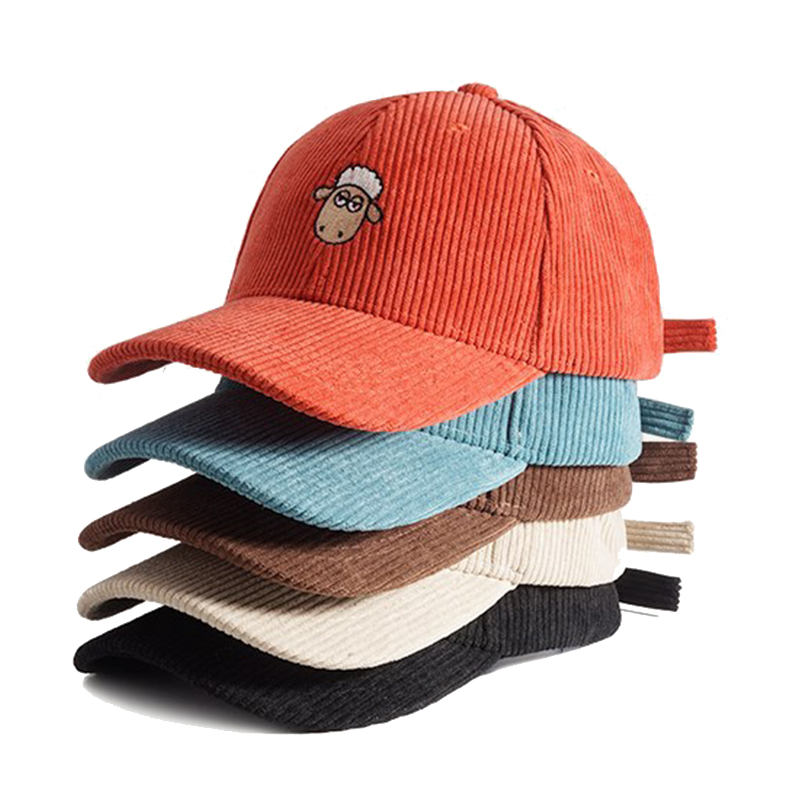 Corduroy Baseball Caps Vintage Low Profile Hat with Adjustable Strap with Brass Buckle