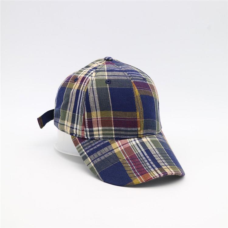 Unisex plaid checked pattern print and plaid print adjustable baseball cap
