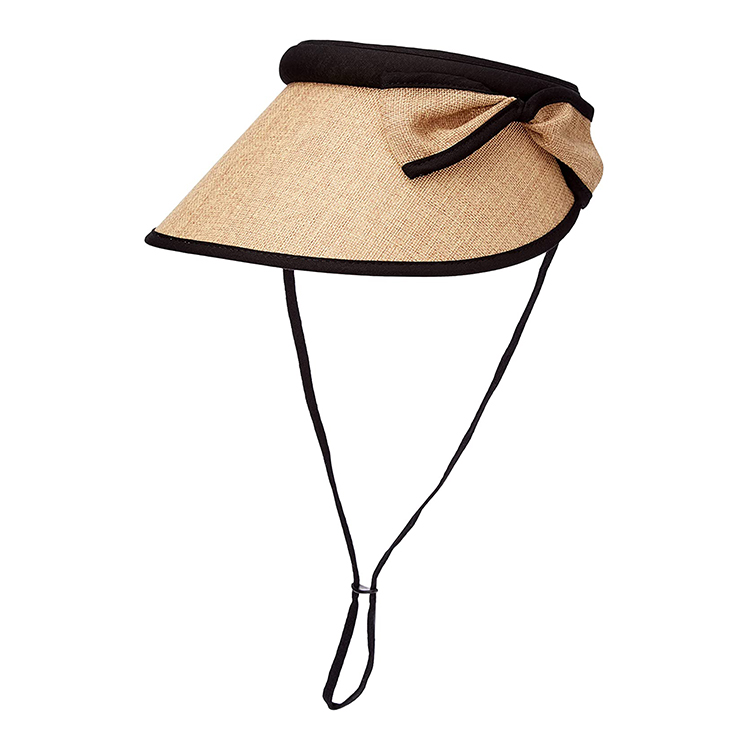 Straw Visor Hats for Women, Foldable Wide Brim Roll-up Beach Ponytail Hats Sun Protection for Golf
