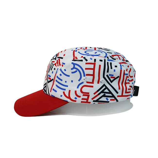 High Quality 5 Panel Caps Sublimation Pattern Camper Cap With Polyester With Nylon Webbing Plastic Buckle