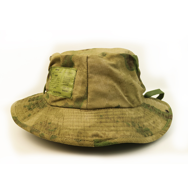 100% Cotton Small Order Custom Embroidery Or Blank Logo Camo Bucket Hat With String 2 Buyers