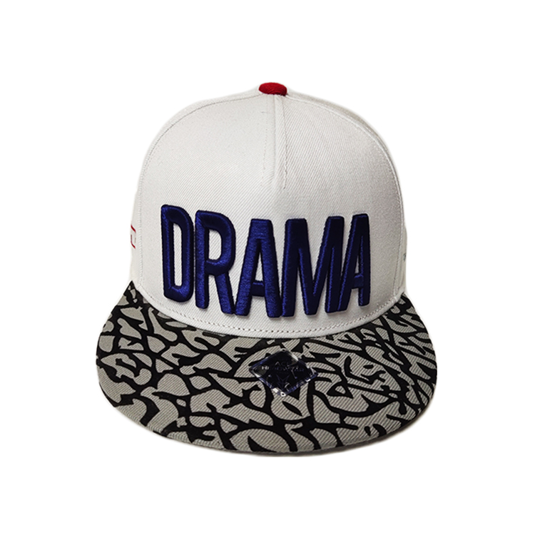 ISO9001 Custom Snapback Caps 6 Panel Mens White And Black Sublimation 3d Embroidery