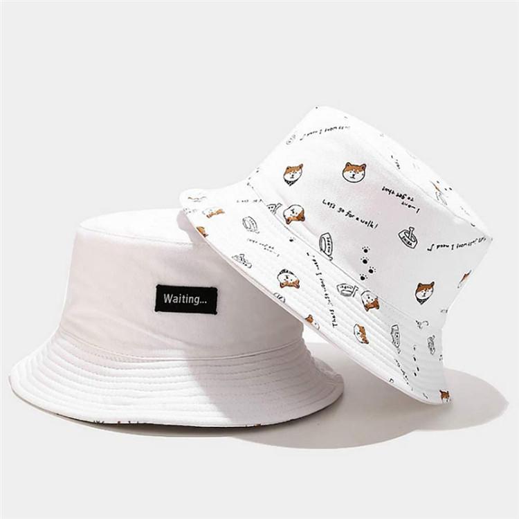 Basin Cap Bucket Hat Fisherman's Hat Embroidered Pattern All-Match Sunhat Cotton Headwear