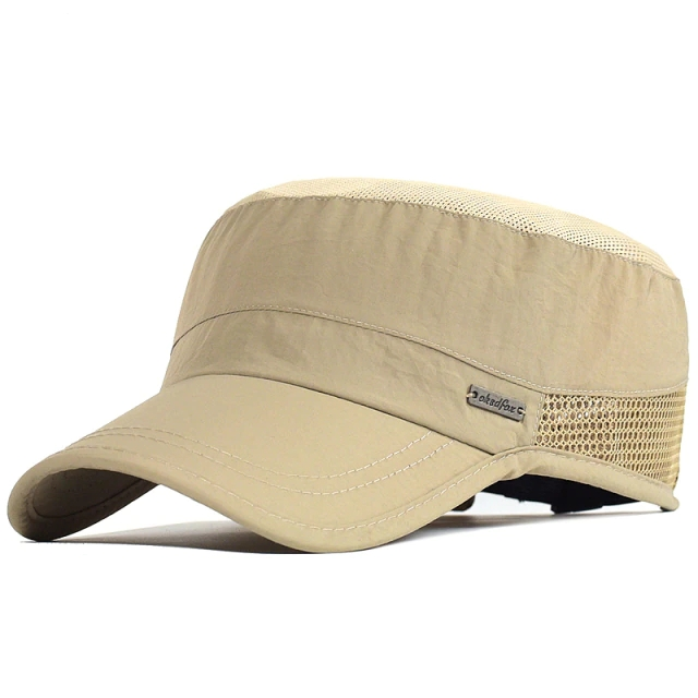 Summer Mesh Outdoor Sport Quick Drying Military Caps Men Breathable Cadet Army Cap Flat Top Hat