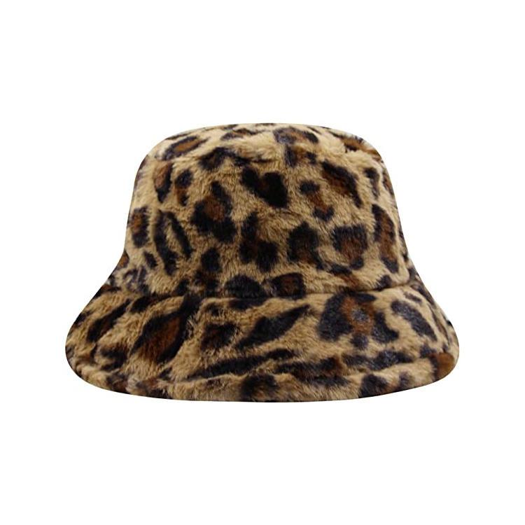 Women Leopard Print Faux Fur Bucket Hat Fluffy Plush Winter Warm Fisherman Cap bucket Hat for Teens Girls