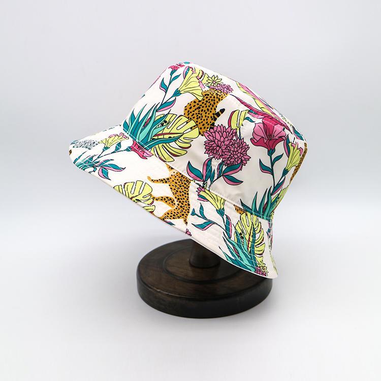 Unisex Print Bucket Hat, Polyester 100% Summer Travel Fisherman Cap, Foldable Beach Sun Hat