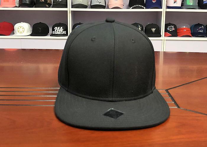 Customized Black 6 Panel Wool Snapback Caps Blank model Flat Brim Cap With Customized Logo