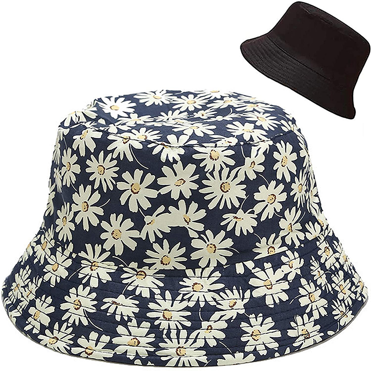 Printing Bucket Hat Reversible Both Sides Wear Summer Travel Beach Sun Hat Outdoor Hat for Women and Men