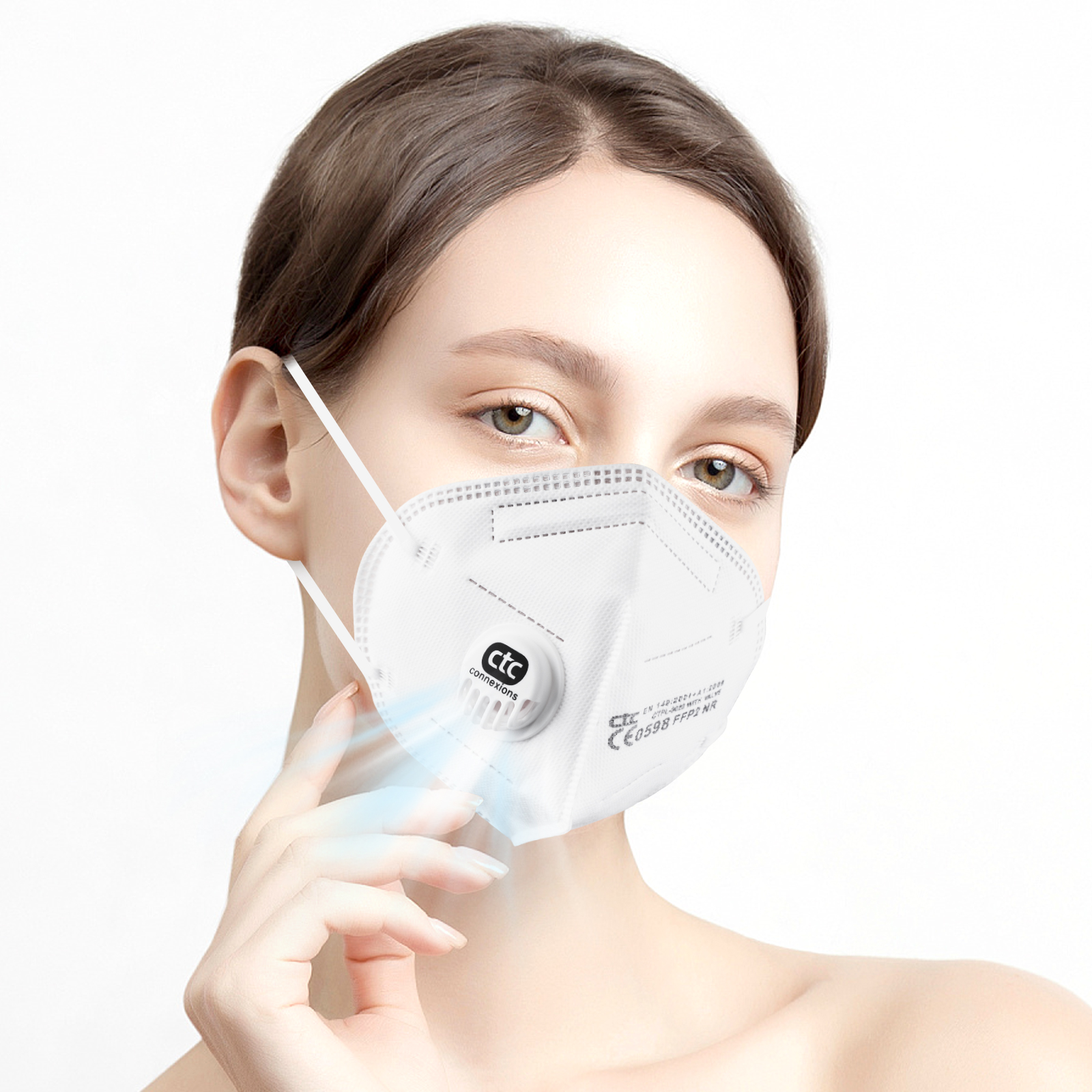 White 5Layers FFP2  Respirator Mask With Vavle CE0598