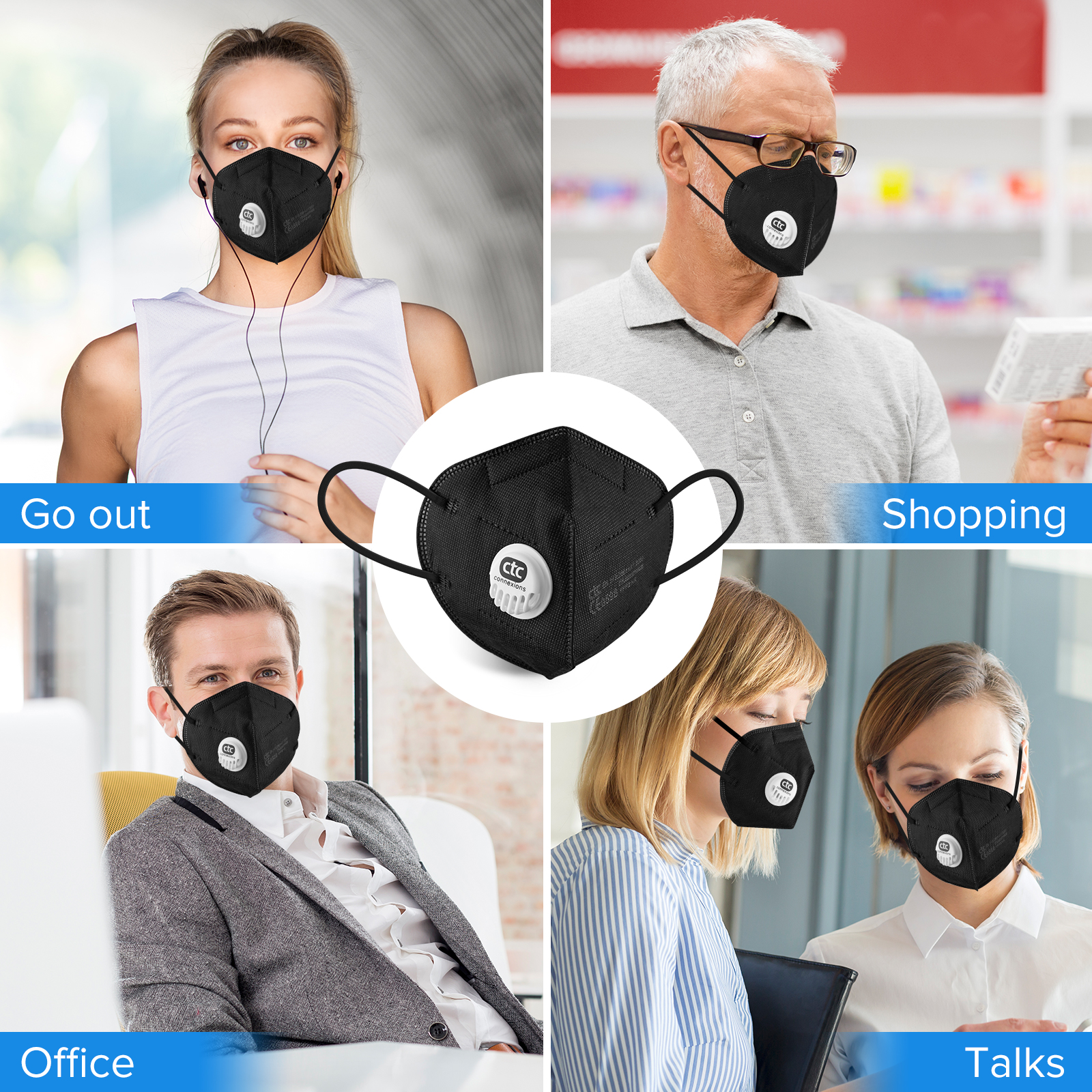 Black Color 5Layers FFP2 Respirator Mask With Valve CE0598