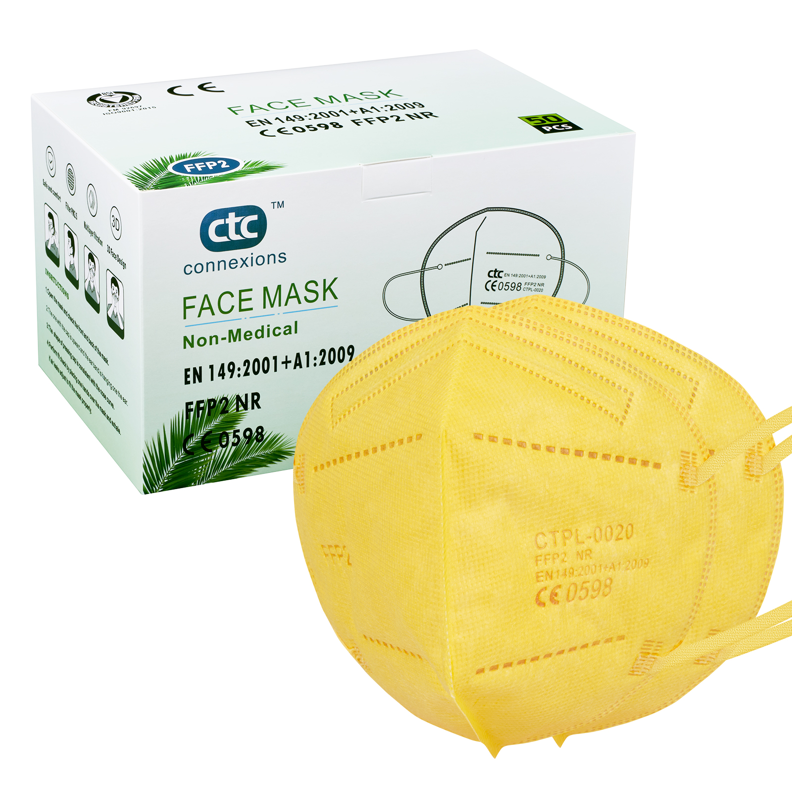 CTPL-0020 FFP2 Respirator Face Mask Yellow Color with CE0598 Certification