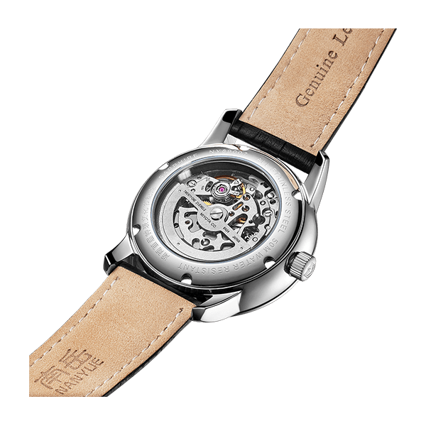 Weide Genuine Leather Skeleton Dial Automatic Watch